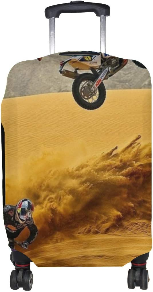 Motocross Desert Motorcycle Sand Pattern Print Travel Luggage Protector Baggage Suitcase Cover Fits 18-21 Inch Luggage