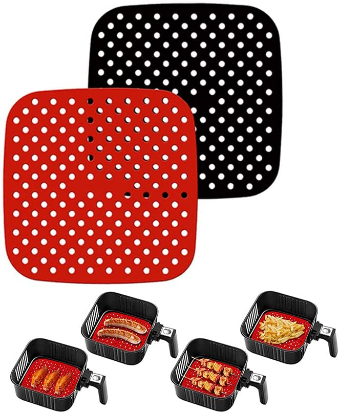 [2 pack] Reusable Non-Stick Air Fryer Liners Mats,LNtech Air Fryer Accessories Compatible with Cosori, Gowise Usa, Instant Pot, Ninja, Ultrean, Power XL,Chefman, Innsky, Dash, Secura (Square 7.5 inch)