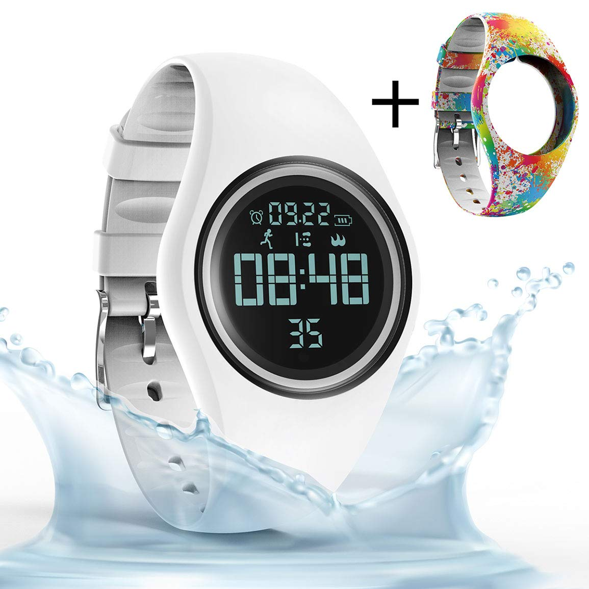 synwee Sports Fitness Tracker Watch,IP68 Waterproof, Non-Bluetooth, with Pedometer/Vibration Alarm Clock/Timer,for Kid Children Teen Boys Girls (White)