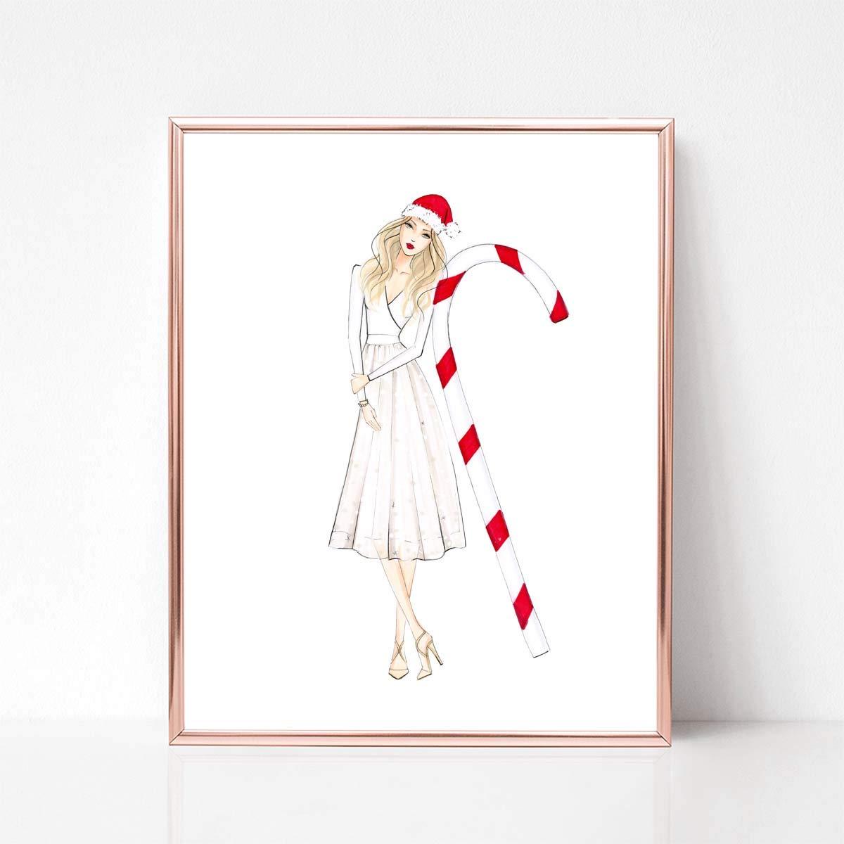 Unframed Candy Cane Girl Fashion Illustration Art Print