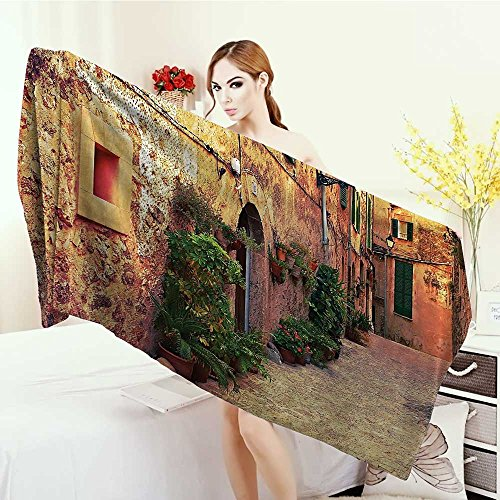 3D Printed Microfiber Beach Towel Wanderlust Decor Collection Ancient Street in Valldemossa Village Mallorca Spain Vintage Door Road Tourism Image Thick Towels 63''x31.5'' Green Ivory by Anhounine