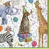 Caspari Entertaining with Cocktail Napkin, Party Animals, Multicolor, Box of 40