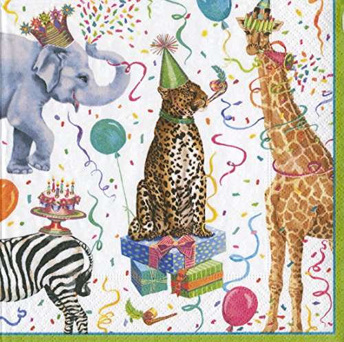 - Entertaining with Caspari Cocktail Napkin, Party Animals, Multicolor, Box of 40