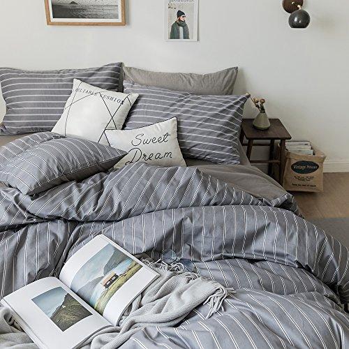 Grey Striped Duvet Cover Set Queen Luxury Bedding Set Full 3
