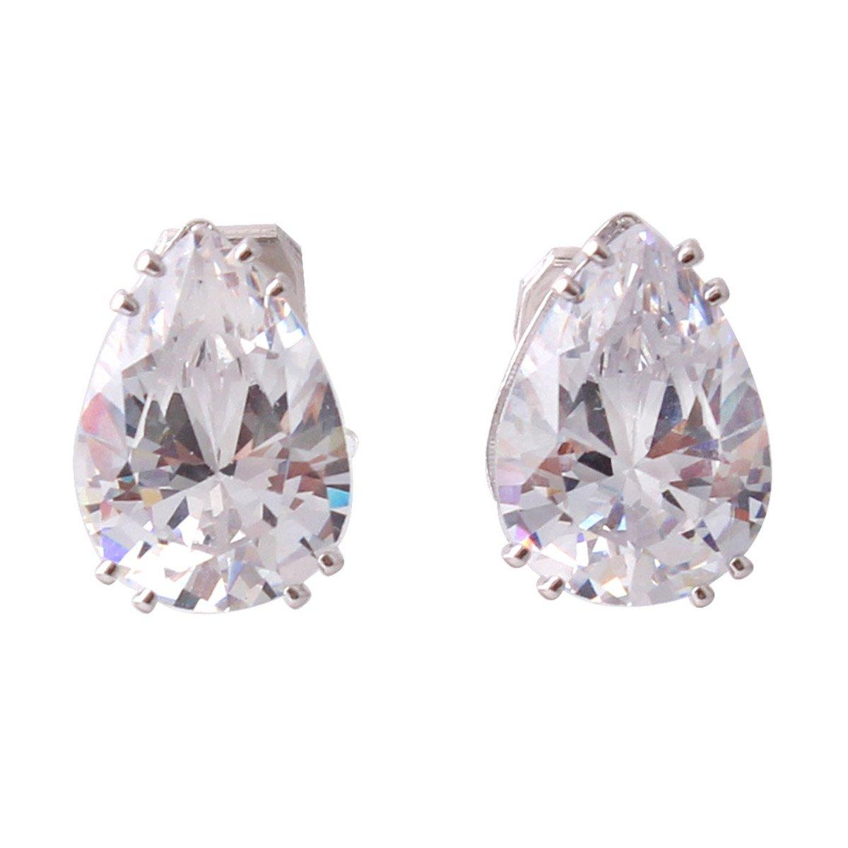 Grace Jun Platinum Plated Water Drop Shape AAA CZ Clip on Earrings Non Piercing for Women Ear Clip