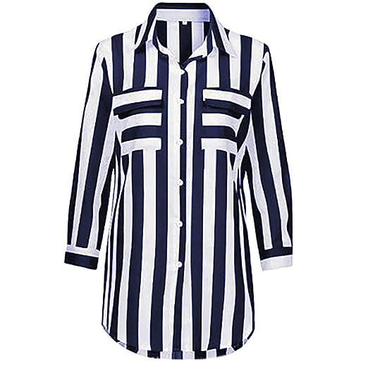 ... V Camiseta TúNica Rayas Cuello V Camisas Blusa De Manga Larga Floja Manera Blusa De Manga Larga SeñOras Casuales Camiseta: Amazon.es: Ropa y accesorios
