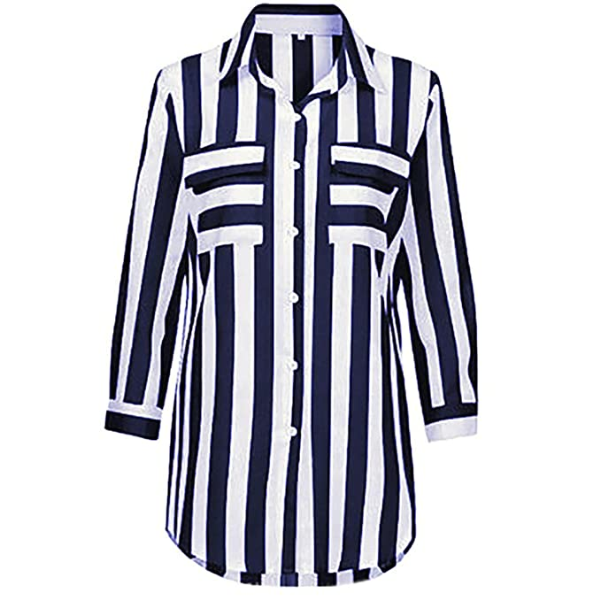 Naturazy Blusa Cuello V Camiseta TúNica Rayas Cuello V Camisas Blusa De Manga Larga Floja Manera