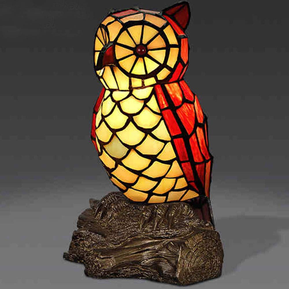 Tiffany Style Table Lamp Maternity Night Light Stained Glass Cute Owl Bedside Lamp W14 H25CM Desk Lamps by LCLZ