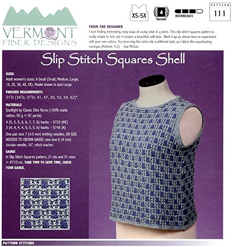 (Slip Stitch Squares Shell - Vermont Fiber Designs Knitting Pattern 111 XS-5X)