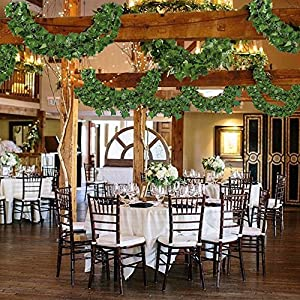 Hogado 84 Feet Artificial Hanging Plants Fake Vines Silk Ivy Leaves Greenery Garland for Wedding Kitchen Wall Outdoor Party Festival Decor 2