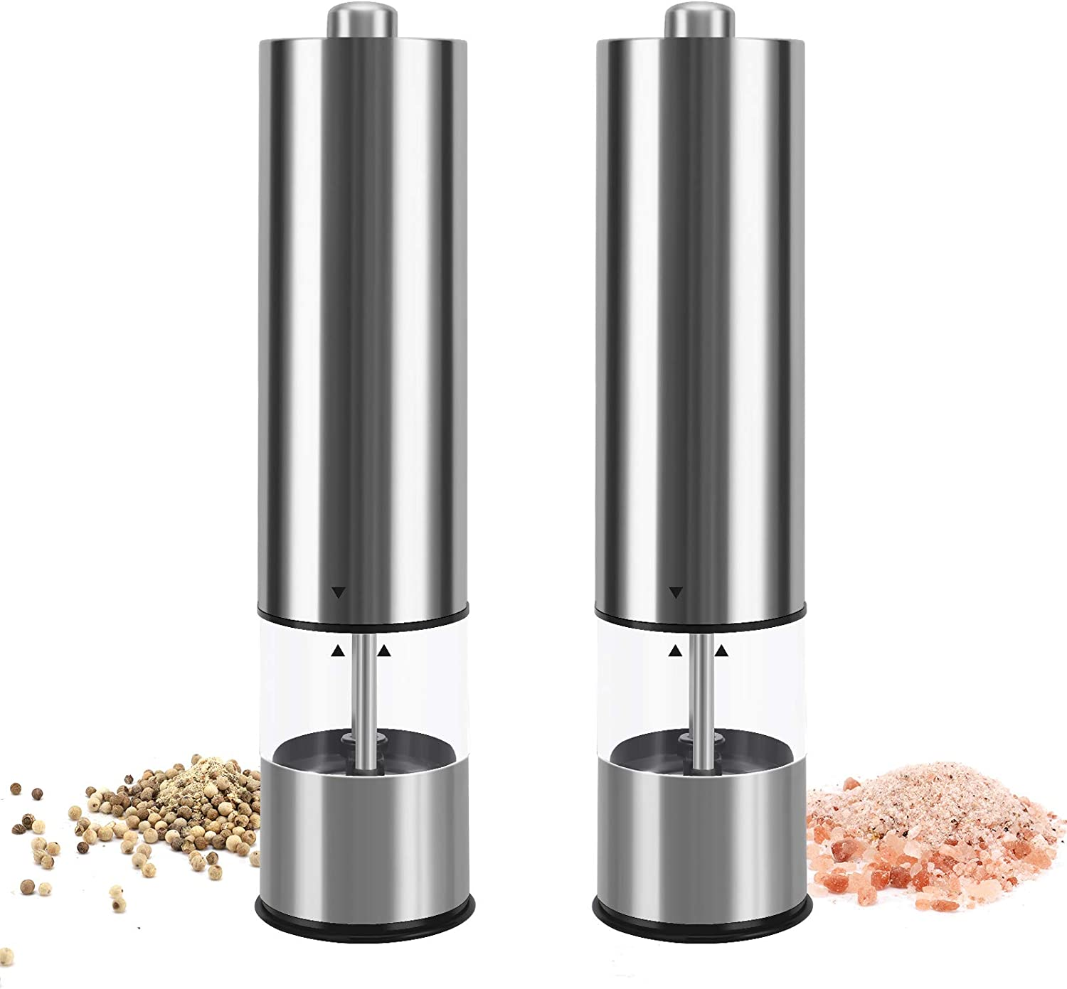 Fufengz Electric Black Pepper Grinder Salt and Pepper Grinders Set Refillable Pepper Mill Battery Powered Stainless Steel Perfume Grinder