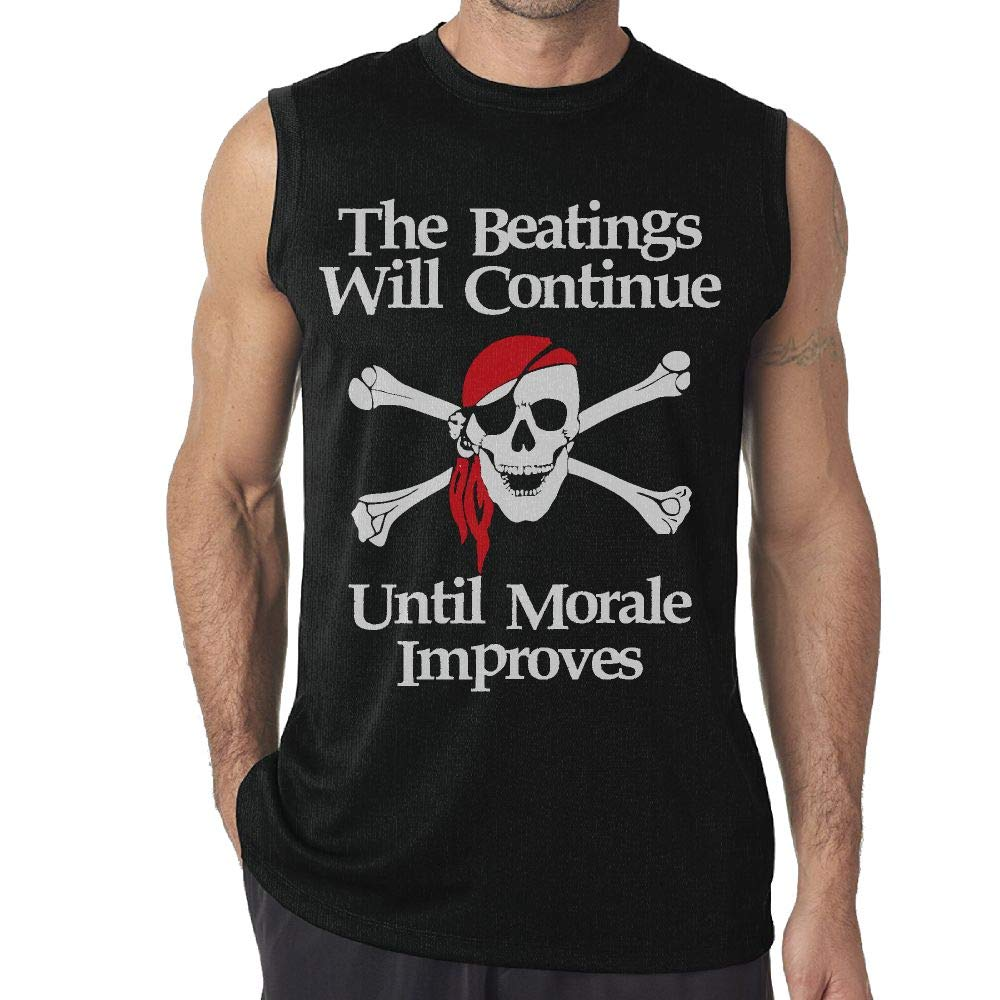NRYDYMM Men Sleeveless T Shirt The Beatings Will Continue Until Moral Improves 100/% Cotton Bodybuilding T Shirt