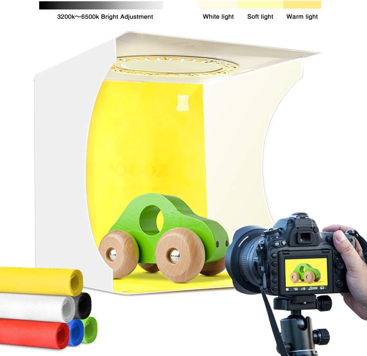 Adjustable Light Photo Studio Box Photo Studio Shooting Tent with Ring White Light 6500K Warm Light 3200K 24cm x 23cm x 23cm Portable Photography Lighting softbox 6 Color Backdrop kit