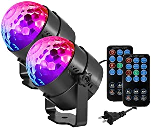 Party Lights Disco Ball LED Strobe Lights Sound Activated RBG Disco Lights,dj Lights,Portable 7 Modes Stage Light for Home Room Dance Parties Birthday Bar Karaoke Xmas Wedding Show Club 2 Pack