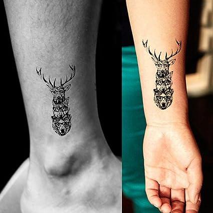 TAFLY Tatuajes Temporales Falsos, diseño de ciervo de dibujos de ...