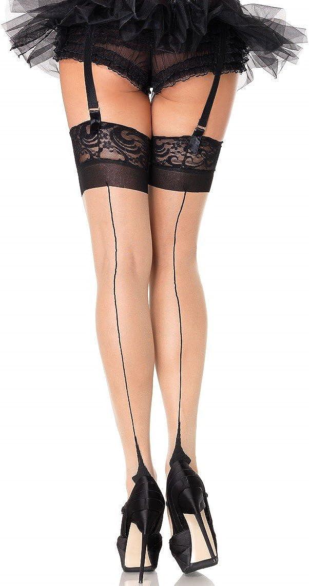 Halterlose Strümpfe Stocking schwarz Naht Damen Leg Avenue 36-38
