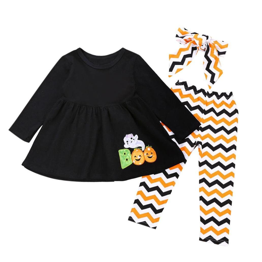 Mounter-Ensembles de Automne et Hiver Fille, 3 PC Tout-Petit Bébé Plein Ghost Robes Top Wave Impression Pantalon Bandeau Halloween Costume