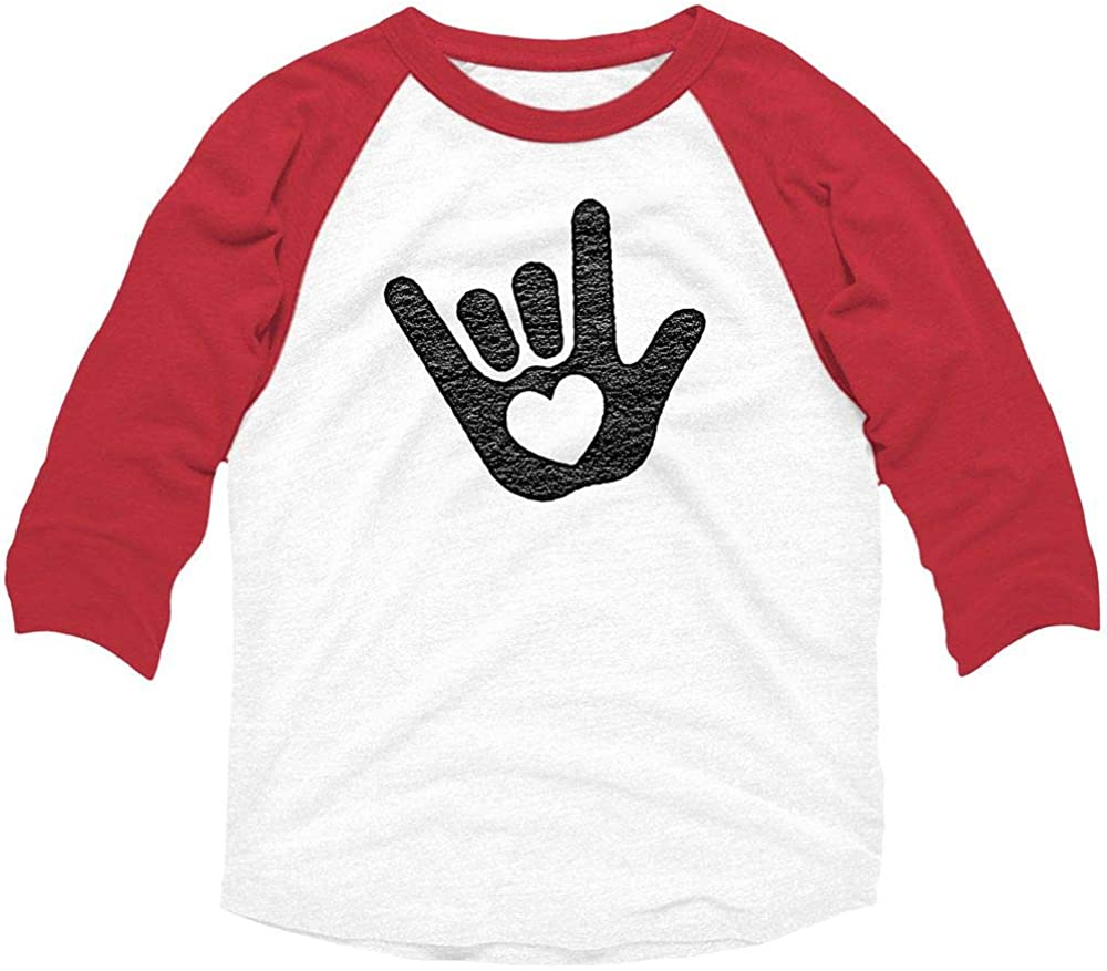 American Classics Love You Sign White//Red Toddler//Youth 3//4 Sleeve Raglan