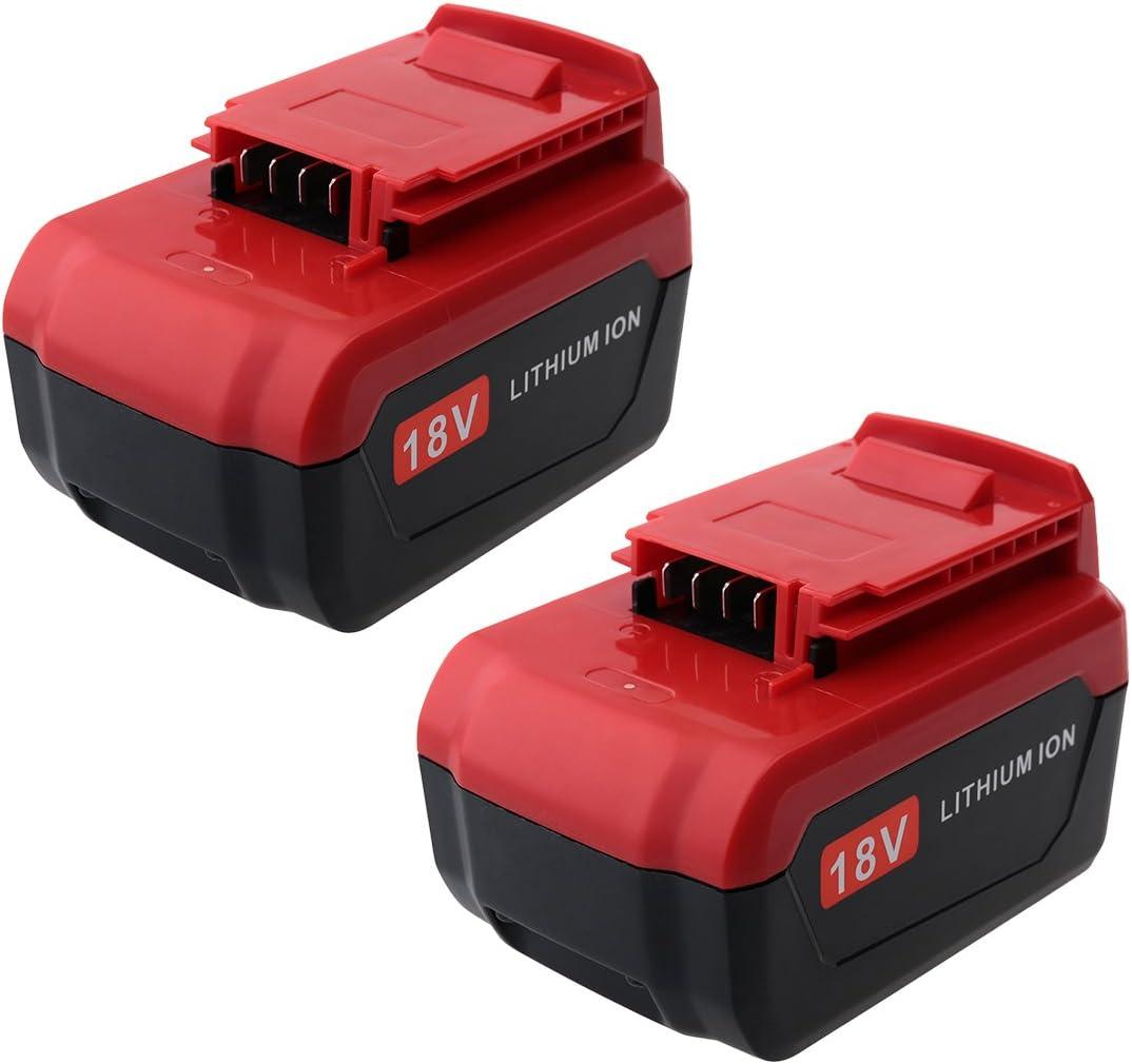 Biswaye 2-Pack 18-Volt Lithium Battery Replacement for Porter Cable 18V Lithium-ion & Ni-Cd Battery PC18B PC18BL PC18BLX PC18BLEX PCC489N PCXMVC - -