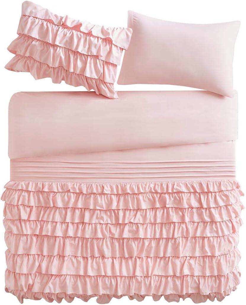 Flamenco Ruffle Blush Pink Double Duvet