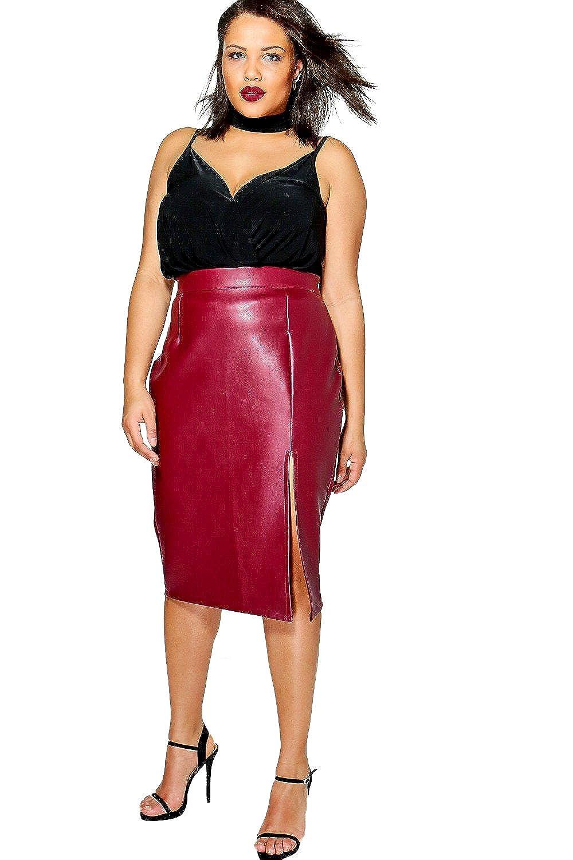 Burgundy Womens Plus Yas Leather Look Midi Skirt