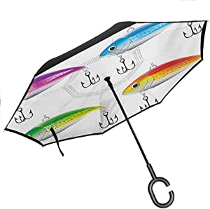 "YOFUHOME Fishing Inverted Umbrella Boat Drifting in Ocean Full Moon Dramatic Night Sky Life Hope Concept Art Reversible Folding Double Layer, 42.5""x31.5""Inch Dark Blue White"