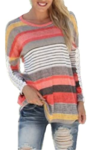 Aivosen Mujeres Relajado Slim Camiseta Con Manga Larga Rayas Cuello Redondo Camisa Blouses T Shirt P...