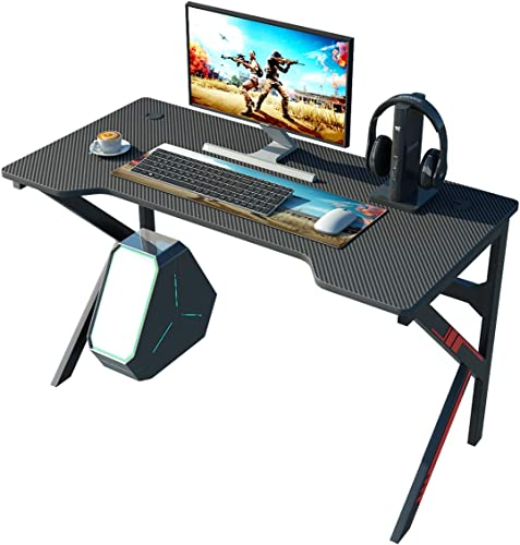 sogesfurniture 47inches Gaming Desk Gaming Table K-Shaped Computer Desk Ergonomic PC Desk Professional Gamer Game Station