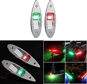 SUNJULY 2 Pack Navigation Lights, Marine Boat Yacht Light 12V Stainless Steel, Waterproof, LED Pontoons Sailing Signal Lights, Bow Lights, Red and Green