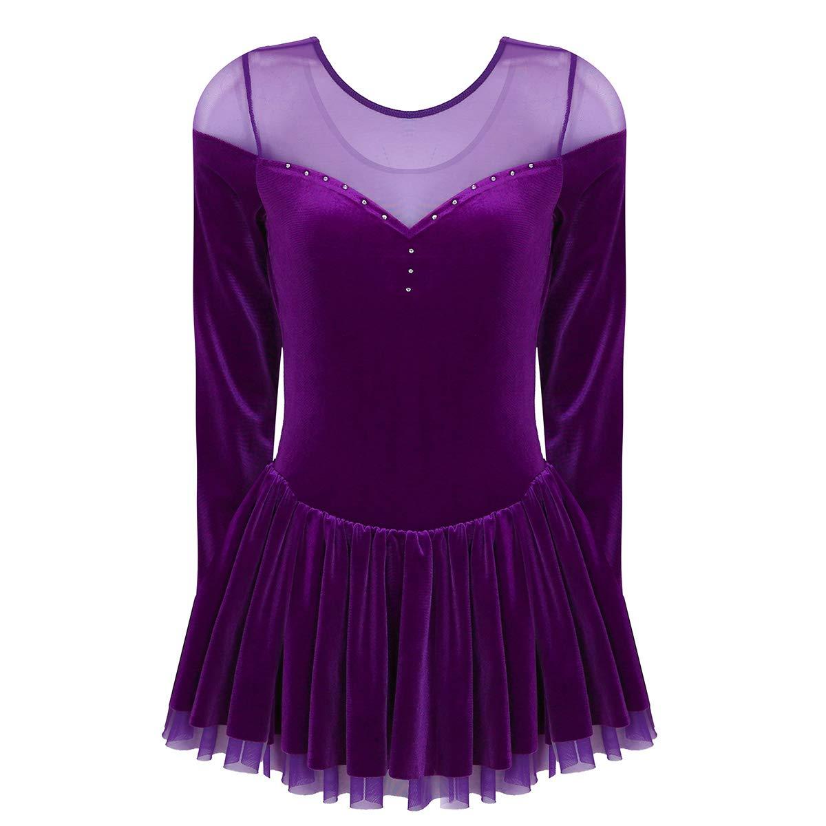Freebily Women Figure Skating Dress Velvet Double Layer Mesh Long Sleeves Skirt Ice Skating Dress