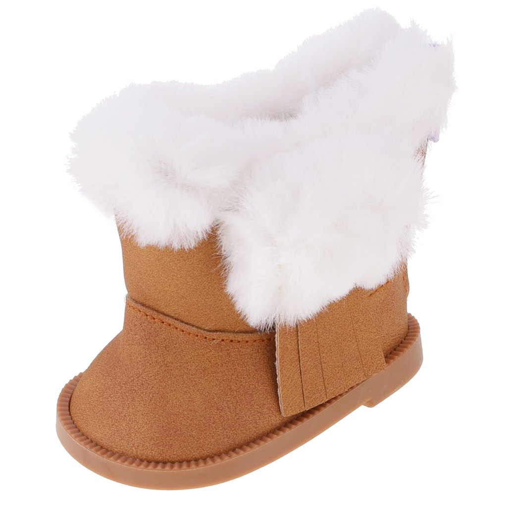 MonkeyJack Stylish Mini Shoes Outfit Zip Plush Snow Boots with Tassel for 18 American Girl Our Generation My Life Dolls Accessories Brown