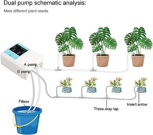 Shuaienfushi Sistema de riego automático, para Vacaciones, Kit de riego para bancal de Flores, terraza, jardín o Plantas de Maceta, Dispositivo de riego automático: Amazon.es: Jardín