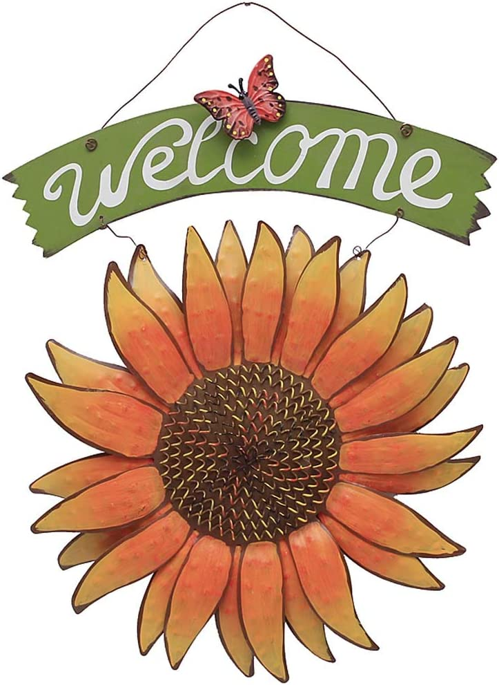 E-view Sunflower Welcome Sign Decorative Vintage Metal Wall Hanging Home Garden Decor - Welcome Plaque for Front Door, Garden Themed Sunflower & Butterfly