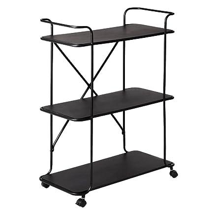 MyEasyShopping Cart Metal Rolling Storage Rack Utility Tier Shelves Wire Shelving Bookshelf W Wheel Mesh Trolley