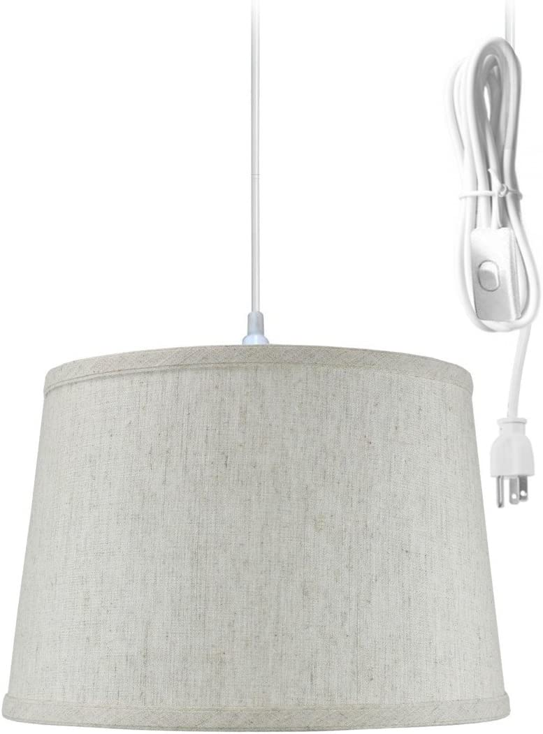 Plug-in Pendant Light by Home Concept – Hanging Swag Lamp Shallow Drum Textured Oatmeal Shade – Perfect for Apartments, dorms, no Wiring Needed Textured Oatmeal, White One-Light