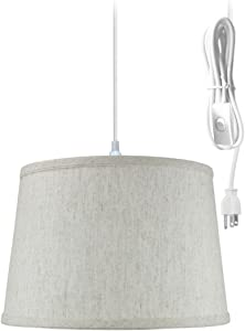 """1 Light Swag Plug-in Pendant 12""""w Shallow Drum Textured Oatmeal Shade, 17' White Cord"""