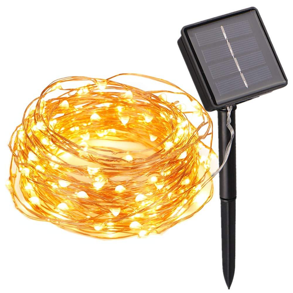 Lichterkette 100 LEDs Draußen/Innenbeleuchtung Solarbetriebene 10M Kupferdraht 2 Modi Wasserdicht IP65 für Garten, Zaun, Sonnenschirm, Terrasse, Dach, Party, Hochzeit, Festspiele und Haus Deko (Warmweiß) Flexble