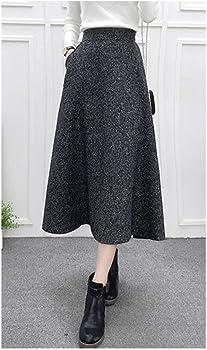 Falda acampanada plisada de cintura alta para mujer, de lana ...