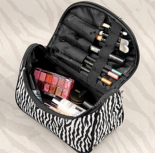 Fashion Zebra Pattern Lady Makeup Bag Women Portable Cosmetic Toiletry Bags Travel Storage Organizer