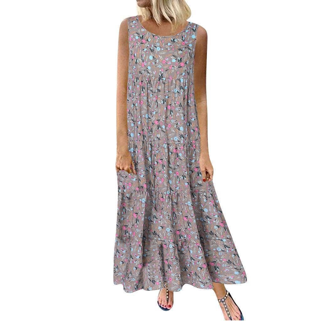 Amazon.com: Women Plus Size Casual Sleeveless Dresses ...