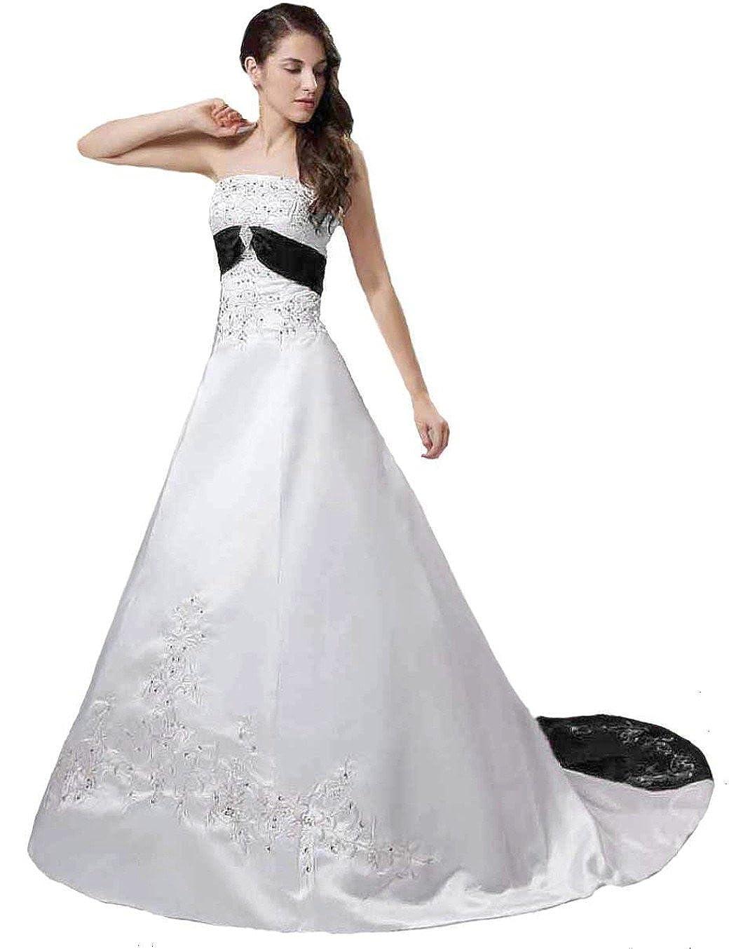 RohmBridal Womens Vintage Satin Embroidery Bridal Wedding Dresses Chapel Train
