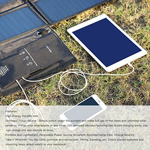 LESHP Highest Efficient Solar Charger 40W Foldable Sunpower Solar Panel Charger Dual Output (5V USB + 12V DC) For StorageBattery, iPhone, iPad, Android Smart Phone by LESHP (Image #2)