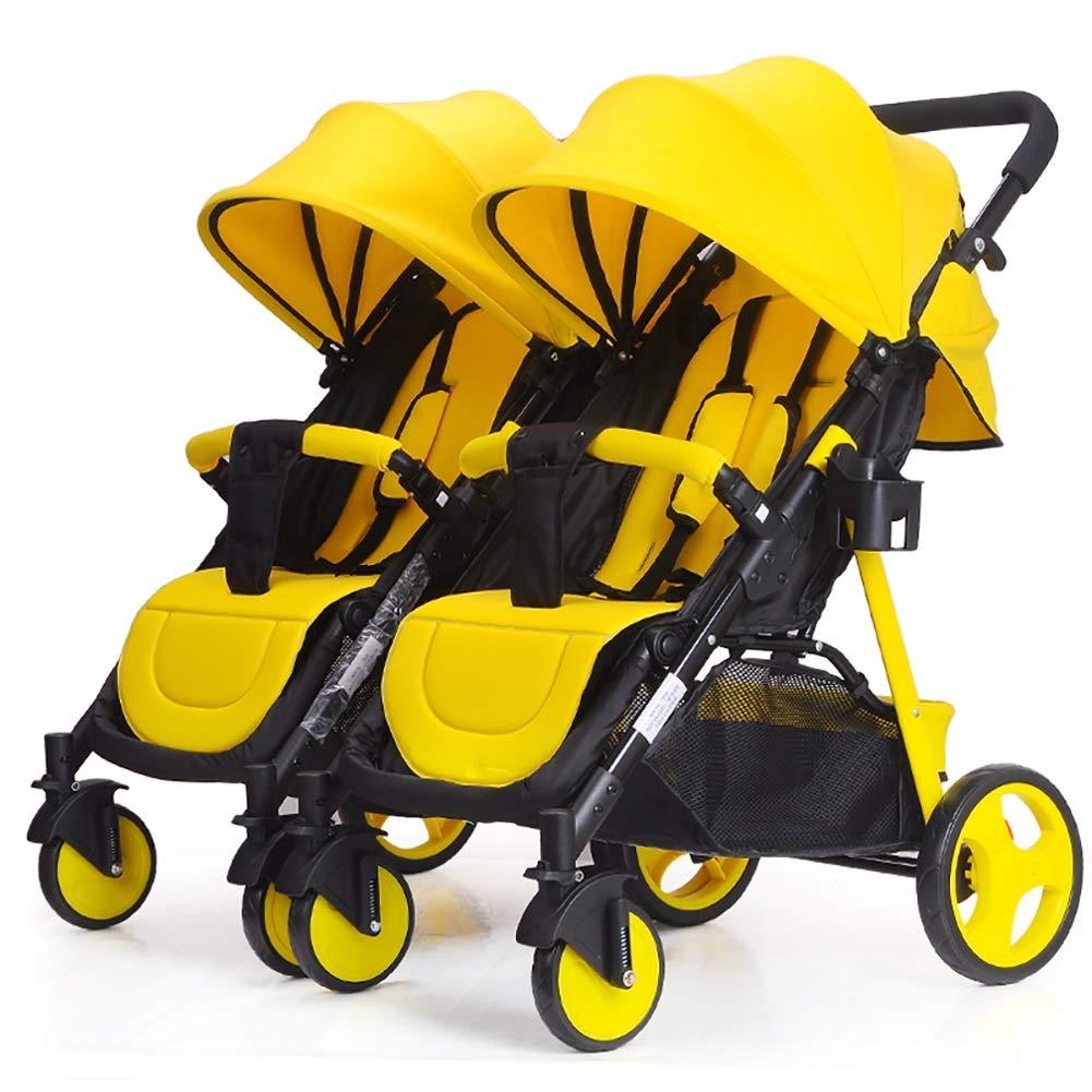 ツインベビーベビーカー着脱可能Ready2growダブルトロリー座って、軽量折りたたみ赤ちゃんキャリッジに横たわることができます。 (色 : 黄)  黄 B07QHSRYR1