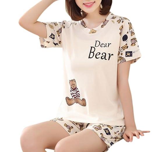 d9bd9f8990 UJuly Cartoon Print Tee and Shorts Pajamas for Womens Plus Size Sleepwear  Short Sleeve Cute Nightwear