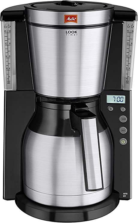 Melitta Look Iv Therm Timer 1011 16 Filter Coffee Machine With Insulated Jug Timer Feature Aroma Selector Blackbrushed Steel