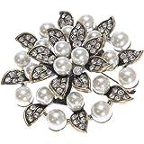 Antique or Broche Fleur Perle Cristal