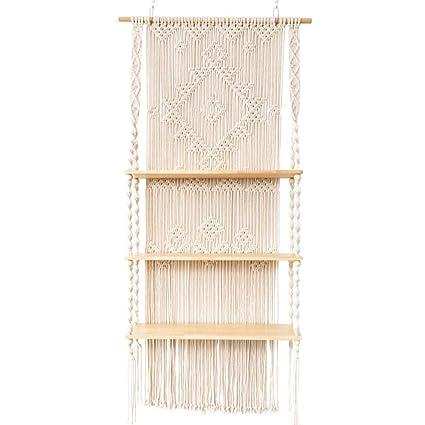 Amazon. Com: zyn manual weaving shelf nordic tapestry wall mount.