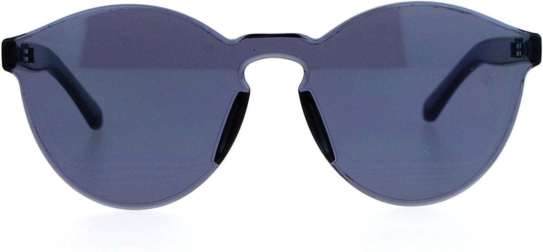 Rimless Flat Lens Sunglasses One Thick Translucent Round Lens Frame