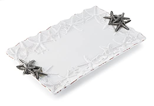Christmas Tablescape Decor - Starfish white rectangular serving platter by Mud Pie