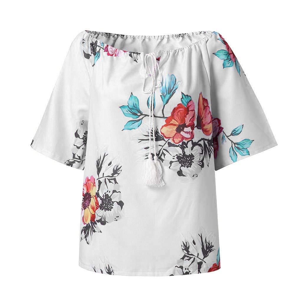 Damen Ärmellos Blumen Tops Blusentop Shirt Tunika T Shirt Casual Oberteil Hemd